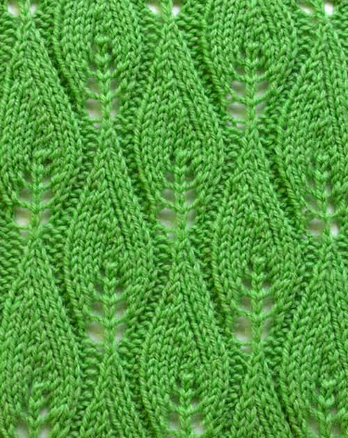 Patrones de Tejido Gratis - Punto hojas tejido a dos agujas