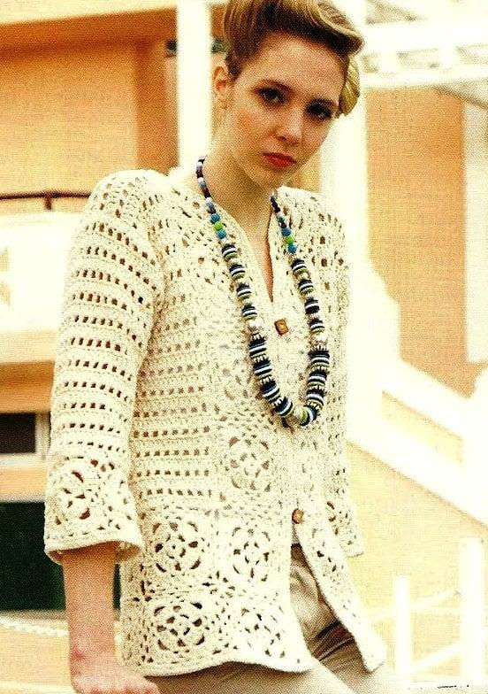 Patrones de tejido gratis saco con cuadrados crochet for Chaqueta tres cuartos