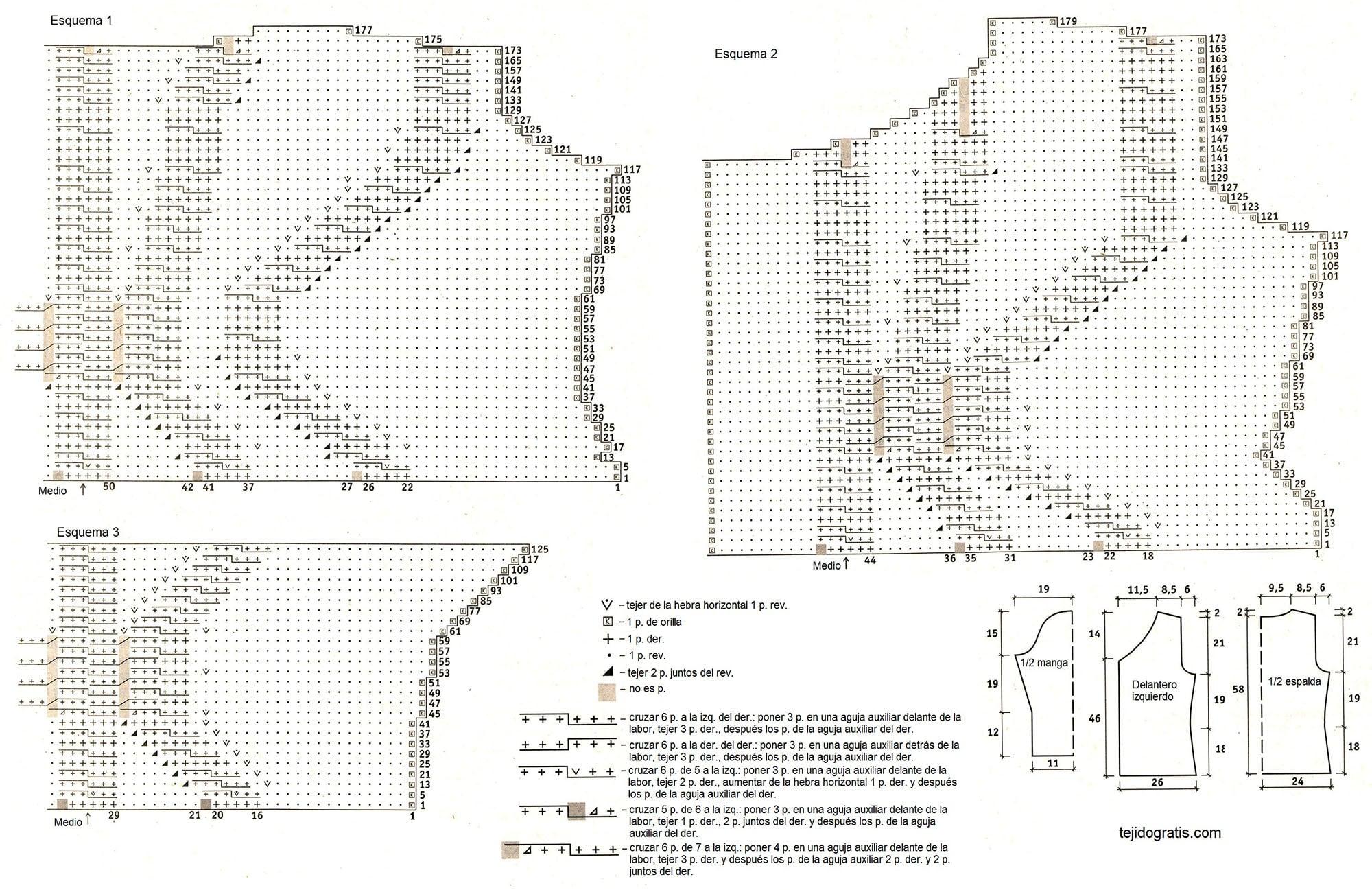 Patrones de Tejido Gratis - Chaqueta con capucha en muestra de trenza